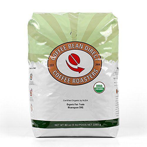 Coffee Bean Direct Nicaraguan, Shade Grown Organic Fair Trade Whole Bean Coffee, 5-Pound Bag - http://goodvibeorganics.com/coffee-bean-direct-nicaraguan-shade-grown-organic-fair-trade-whole-bean-coffee-5-pound-bag/