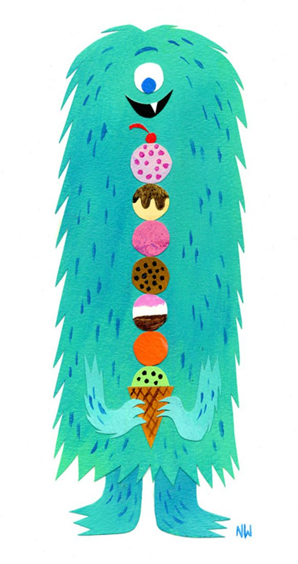 ICE-SCREAM there's a monster! This print would be brilliant for the #kids #bedroom