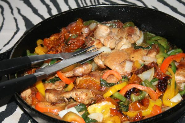 Francolin Breasts with Peppers, Olives and Sun-dried Tomatoes