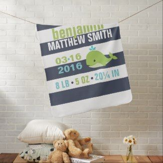 Cute Blue and Green Whale Baby Swaddle Blanket