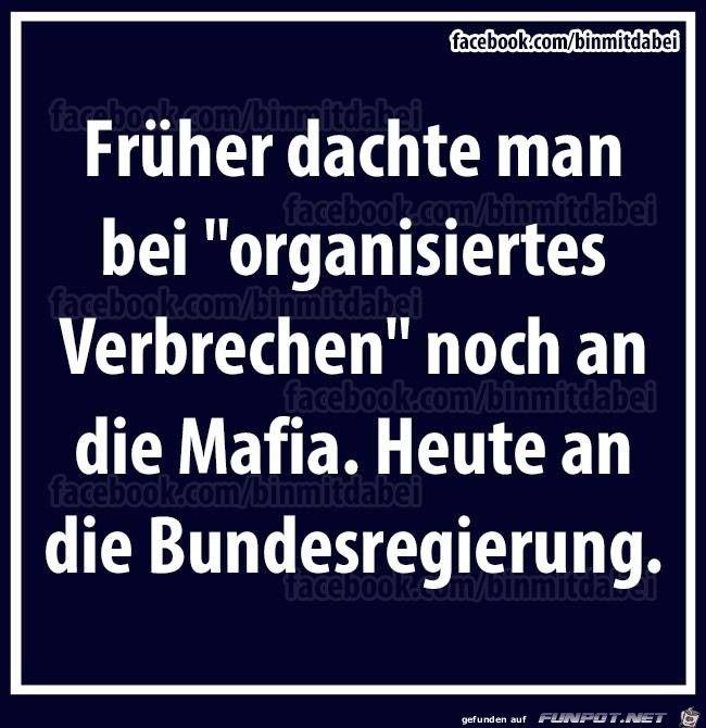 """Früher dachte man bei """"organisiertes Verbrechen"""" noch an die Mafia, heute an die Bundesregierung."""