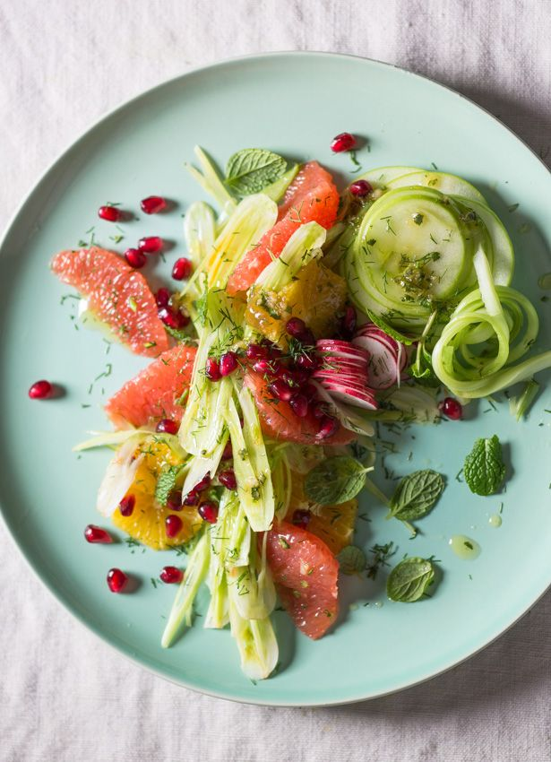 #Fennel, #grapefruit, #apple, #celery #pomegranate and #mint #salad. Refreshing and delicious! #foodstyling #foodphotography, #recipes #summer