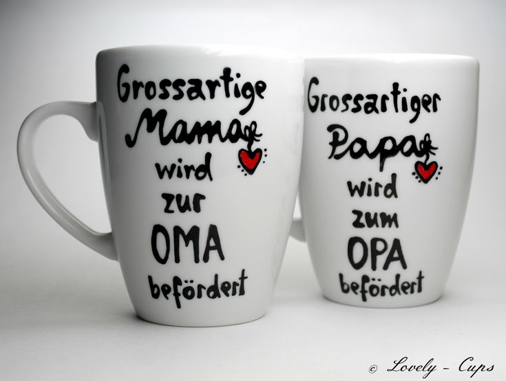 Pregnancy announcing through the cup for Mom and dad as a gift, cups surprise set for the becoming grandparents