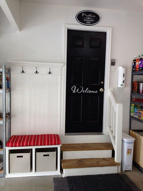 Put up some hooks, get a bench, lay down a carpet and bring the mudroom into the garage.