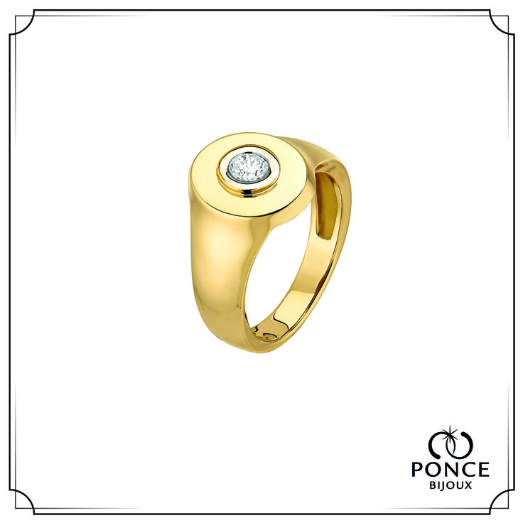 Bijoux Ponce AUTEUIL FOR ME Chevalière Homme, Or Jaune - Table ovale serti d'un diamant de 0.20 carat (Qualité H-SI) #bijouxponce #love #weddingring #Paris #MadeInFrance