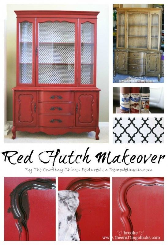 Red hutch makeover | from Remodelaholic --- Amazing china cabinet transformation! This is very similar to my china hutch. I love the red!