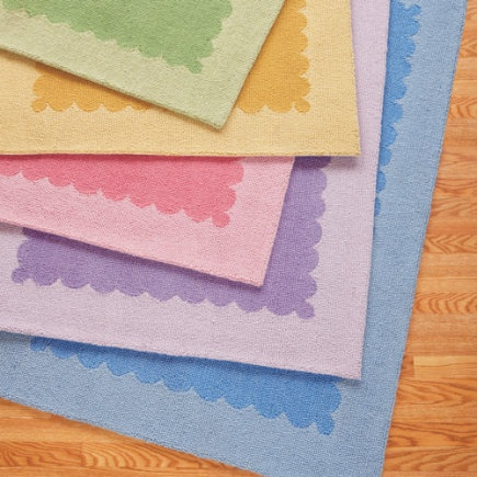 Love These Pretty Framed Rugs With Wavy Edging For A S Baby Nursery Bedroom Yellow Rugpink Ruggreen