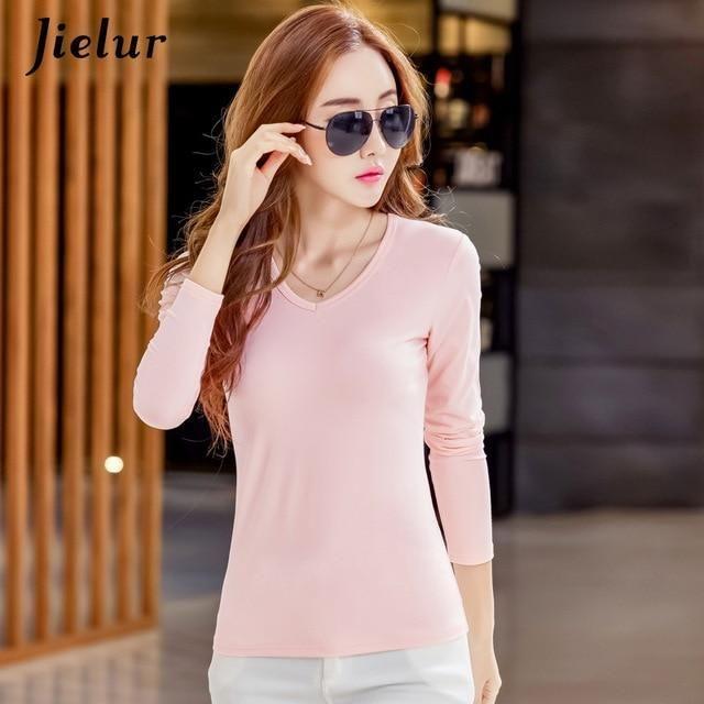 18 S-3Xl Plue Size T Shirt Women Autumn Long Sleeve Stripe Tee Shirt Femme Solid Color Chic Basic Camiseta 16 S