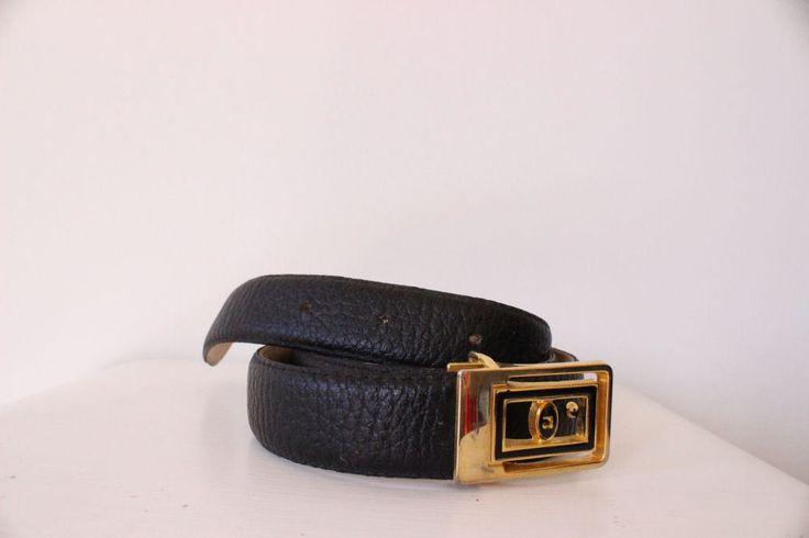 Pierre Cardin Mens Leather Belt BLACK skinny SUIT size 34 trendy Vintage hipster