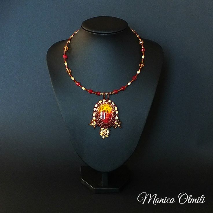 'The Harvest' necklace by Monica Otmili  #beaded #beadwork #necklace #jewelry #summer #evening #harvest #grain #twilight #sunset #field #nature #natural #red #yellow #brown #ground
