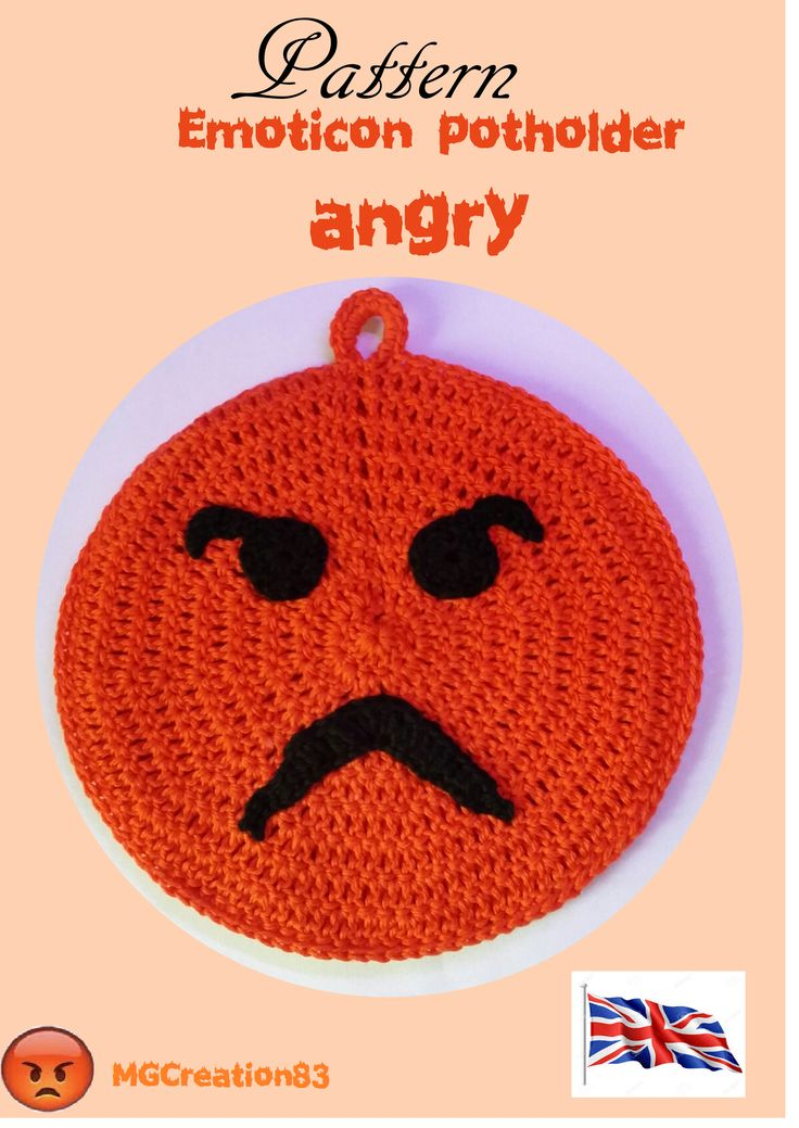 CROCHET PATTERN  - Emoticon angry potholder. Contact me to receive this pattern and for more information!