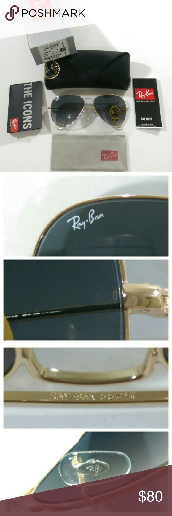 Authentic blue gradient Ray Ban aviator AUTHENTIC  100% Firm on price  Brand new in box Made in Italy  Serial number 001/32 (barcode shown) Size 58mm  Lens color --- blue gradient (real glass lens for better vision) Gold frame  Comes with box, case, cleaning cloth and booklet Fast shipping (will ship same day if purchased before  1pm) with 2-3 days priority mail  Trusted seller!!! Ray-Ban Accessories Glasses