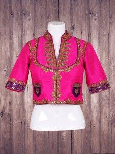 Magenta silk classic ready made blouse