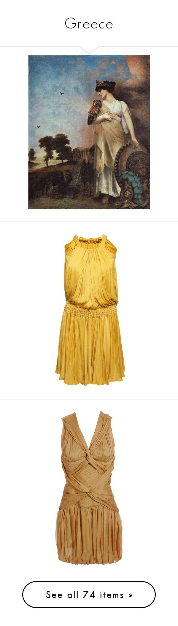 """""""Greece"""" by r-maggie ❤ liked on Polyvore featuring home, home decor, greek home decor, dresses, vestidos, yellow, short dresses, women, full skirts and yellow mini dress"""