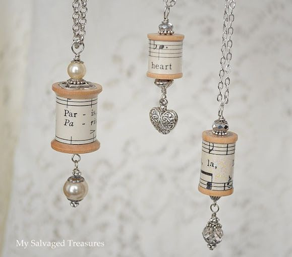 A fantastic gift or keepsake with a sentimental song - Spool Necklaces #diy #jewelry