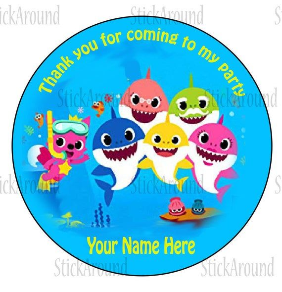 Cute Birthday Party Teal Sticker Labels for Party Bag Sweet Cones