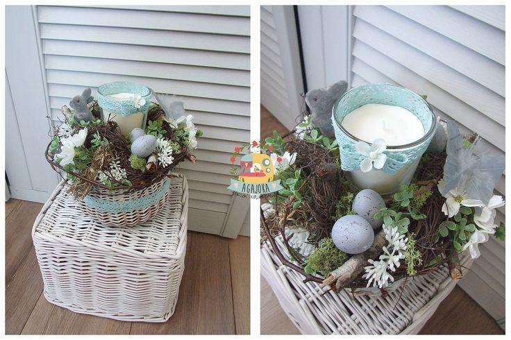 Kompozycja ze świecą w koszyku... i jak to u mnie najczęściej bywa  :)  ptaszki, motylki, jajeczka, zajączki...