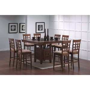 #10: 9pcs Walnut Counter Height Dining Table with Lazy Susan  8 Stools Set.