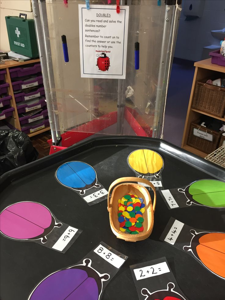 Double trouble - 7 ladybirds, solve the addition number sentences using the counters / whiteboard pens to show method. M_LDx