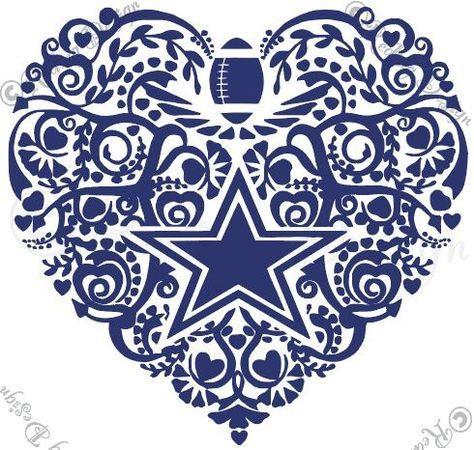 Download Football Dallas Cowboys Heart SVG and DXF | Dallas cowboys ...