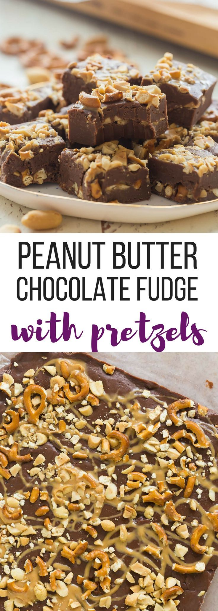 This Peanut Butter Chocolate Fudge with Pretzels is a sweet and salty Christmas candy that is SO easy to make! Just a few ingredients and no bake. Includes step by step recipe video. | easy dessert recipe | no bake dessert | Christmas candy | Christmas recipe | chubby hubby #fudge #chocolate