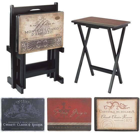 Mesas de madera plegables con decoupage...