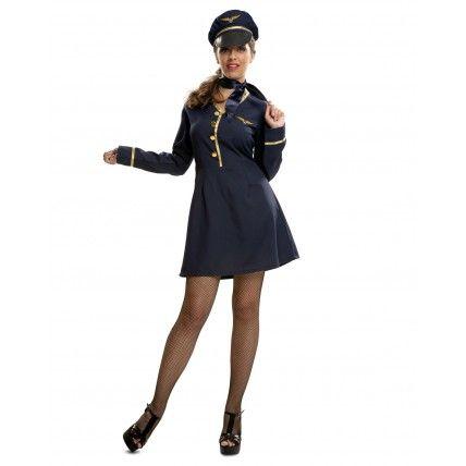Disfraz de Azafata  Disfraces de Azafatas Adultos  Original Disfraz de Azafata para mujer, compuesto por sombrero, foulart y vestido. Ideal para tu fiesta de disfraces de carnaval de azafatas o para tu despedida de soltera. 12,00 €