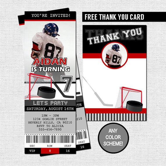 HOCKEY TICKET INVITATIONS  Free Thank You Card by nowanorris