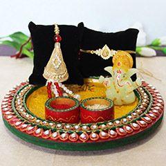Buy golden Lumba rakhi pear on this rakhi festival 2017