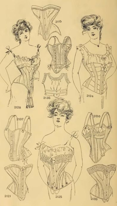 Edwardian Era Ladies' Corsets - 1902-3 Fall & Winter Chas. A. Stevens & Bros. Catalog  No. 2132 (middle second row) A maternity Abdominal Waist  No. 2136 (Right 1 row from bottom) A short hip nursing waist, made with either hook or button front; in white, drab or black.  No. 2137 (Left 1 row from bottom) Soft, washable waist, with abdominal lacings. (note it is not nursing)