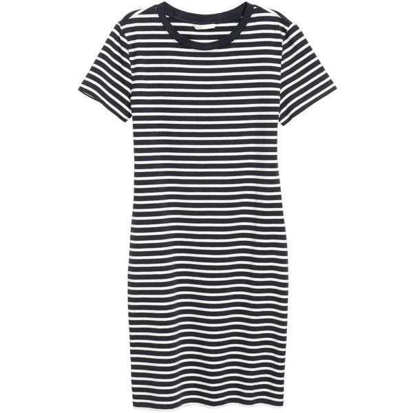 Korta klänningar ($15) ❤ liked on Polyvore featuring h&m, dresses, dark blue dress, white jersey, cotton jersey dress, striped short sleeve dress and stripe jersey dress