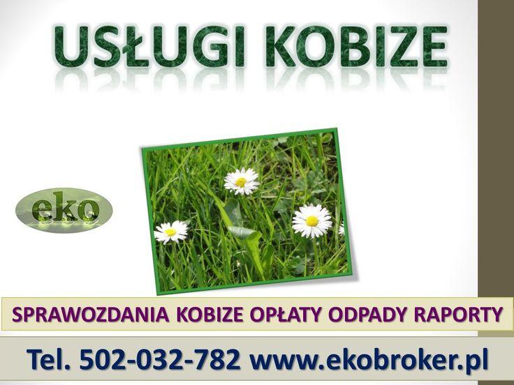 Obsługę w zakresie raportów KOBiZE. tel 502-032-782, założenie konta w krajowej bazie KOBiZE w imieniu zakładu,  rejestracja firm z terenu całej Polski w bazie KOBiZE,  raport do KOBiZE za instalacje, http://ekobroker.pl/