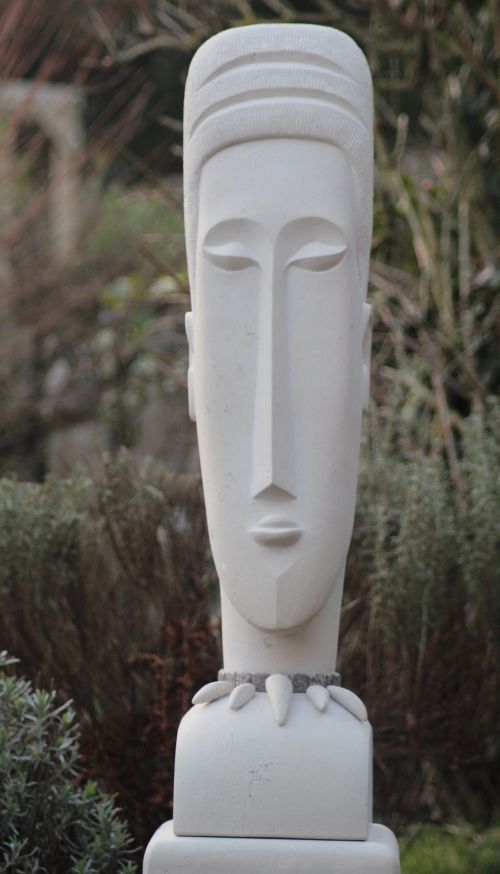 Portland stone Peace or statues or statuettes #sculpture by #sculptor Nicola Axe titled: 'African head' #art