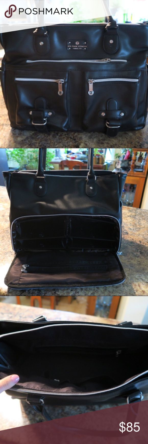 Six pack fitness travel kit - Black bag This expert Renee meal management tote is lightly used. I used the bag twice, I'm selling it because it's not my style. I'm only selling the bag the ice packs and containers are not included. You can fit any size containers in the bag though. 6 pack fitness Bags Totes