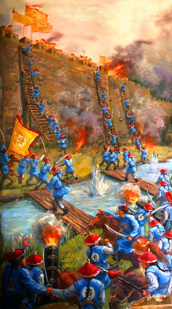 Army of the Qing Dynasty attacking Taiping rebel's fortifications at Sanhe, Battle of Sanhe, Taiping Rebellion, China