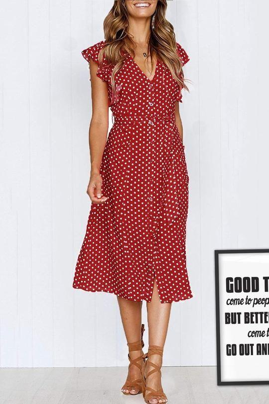 f2a377ffa9d4 Dimpink Intoxicated Bordeaux Dots Ruffle Midi Dress(With Belt) in 2019 |  Fashion | Dresses, Short sleeve dresses, Designer dresses