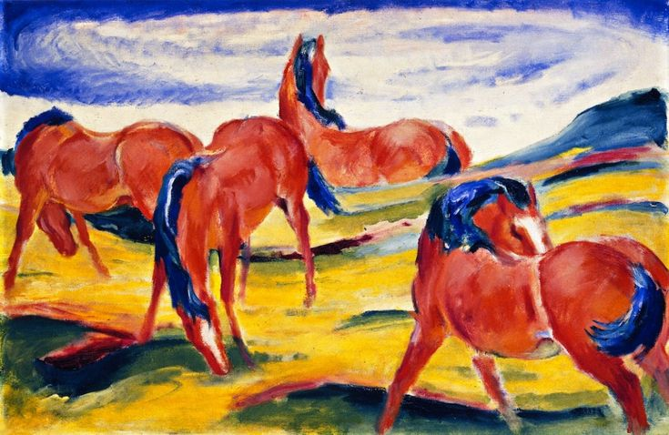 "german-expressionists: ""Franz Marc, Grazing Horses II, 1910 """