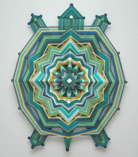 Turtle Mandala 24 inch by 18 inches 12-sided yarn by JaysMandalas