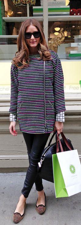 Olivia Palermo: Coat – Topshop  Shoes – Zara  Purse – Givenchy  Pants – Daryl K  Shirt – Whistles  Sunglasses – Westward Leaning