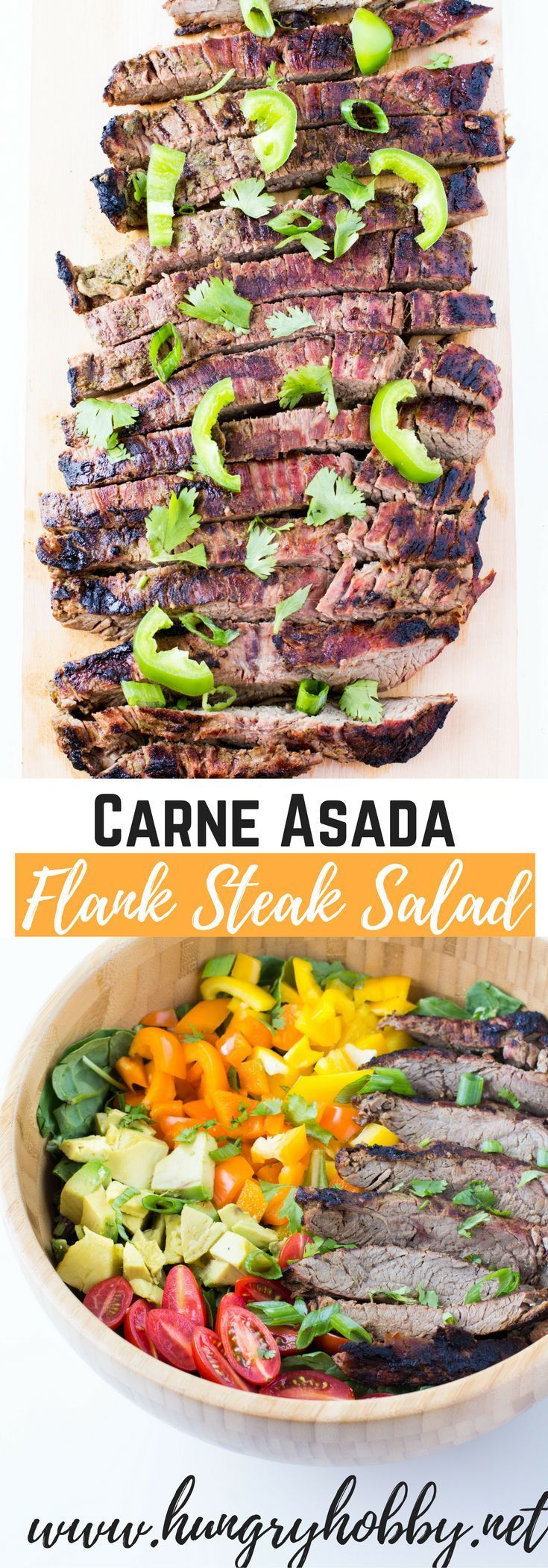 Carne Asada Flank Steak Salad is a flavorful way to enjoy the bold flavors of the grill and the cool crisp refreshing feeling of a chopped salad.  via @hungryhobby