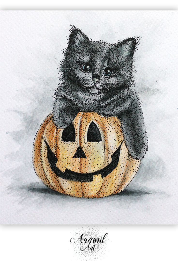 Halloween pumpkin and black cat drawing, created by using about a thousand dots and colored with watercolour pencil. Art by Petra Jánosi. Come and check on FB. :)  https://www.facebook.com/aramilart