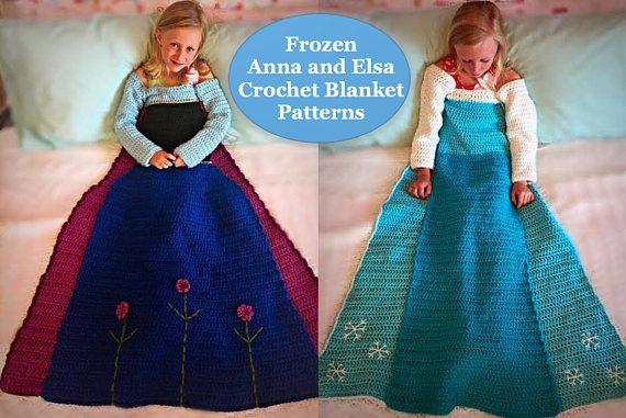 Anna and Elsa Crochet Princess Dress Blanket PATTERNS