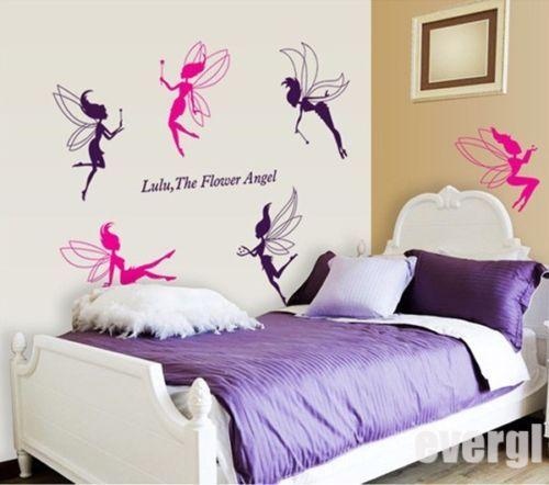 Baby Cute 6 Flower Angel Fairy Art Wall Stickers Decal Kids Girls Nursery Decor