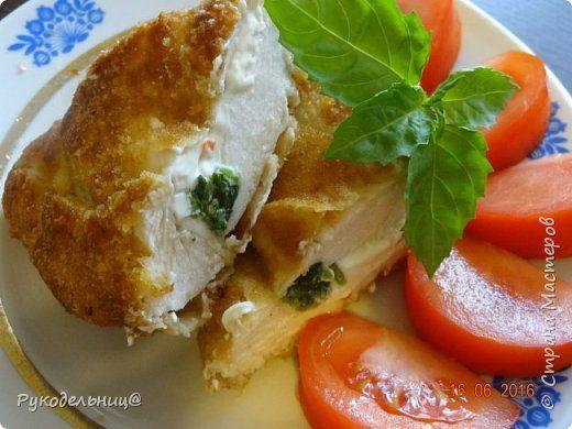 Куриные кармашки со шпинатом и сыром.