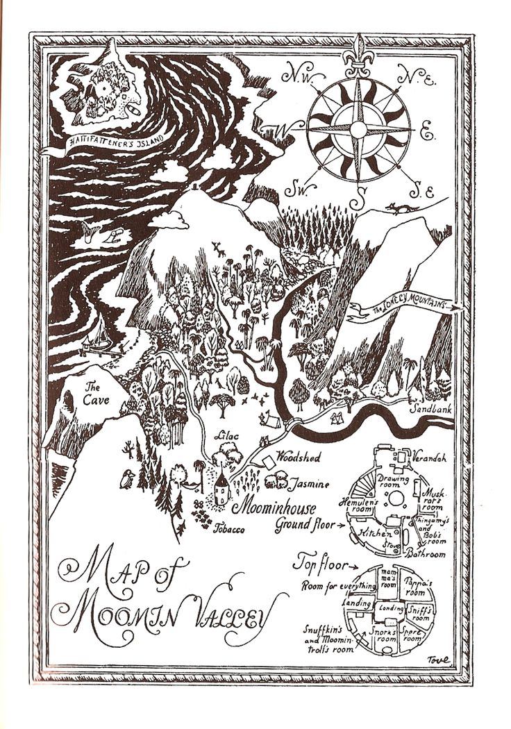"""Map of Moomin Valley --""""Finn Family Moomintroll"""", by Tove Jansson (1948)"""