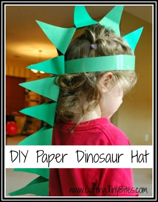 DIY Paper Dinosaur Hat.  Easy costume or dress up for a dinosaur unit or theme.  Great for toddlers and preschoolers!