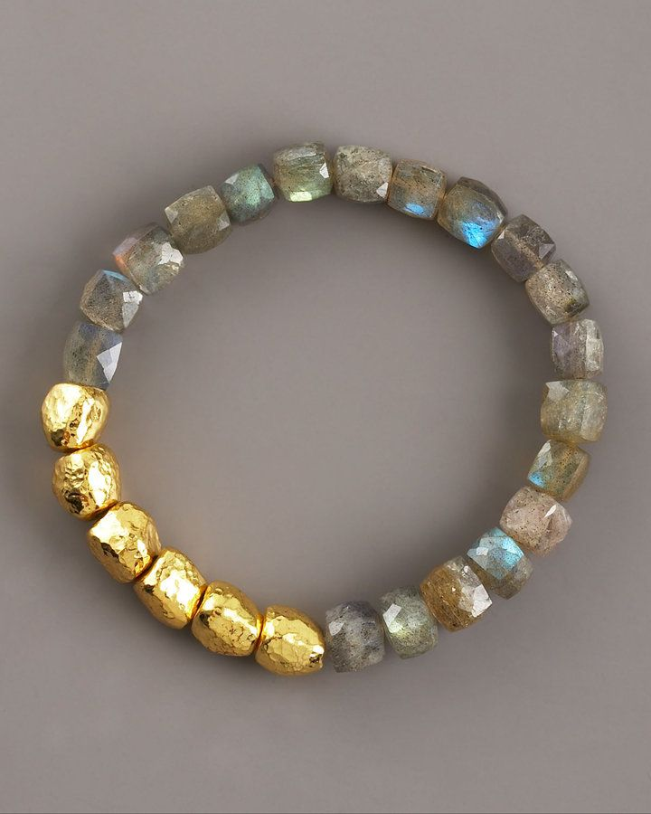 Thai Hammered Gold & Labradorite Bracelet I would layer 8 to 12 of these.