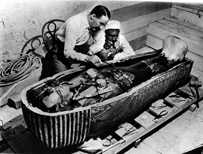 """""""November 26, 1922: Archaeologists Enter King Tutankhamun's Tomb. British archaeologist Howard Carter and his patron Lord Carnarvon entered King Tutankhamun's tomb. They were the first humans to enter the tomb in more than 3,000 years. King Tutankhamun's sealed burial chambers were found intact and included a gold coffin containing the mummy of the teenage king."""""""