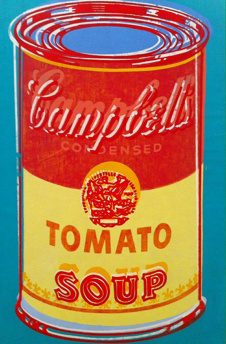 Red and yellow Andy Warhol soup tin, Lisbon Portugal
