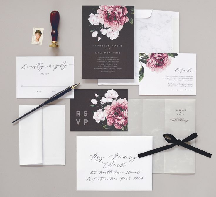Botanical and marble wedding invitations by Rachel